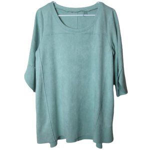 Soft Surroundings green sueded tunic tulip sleeves